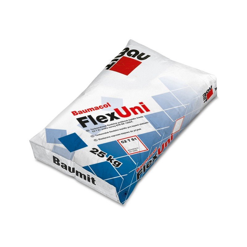 Plonasluoksniai plytelių klijai cemento pagrindu Baumit Baumacol FlexUni 25,0kg