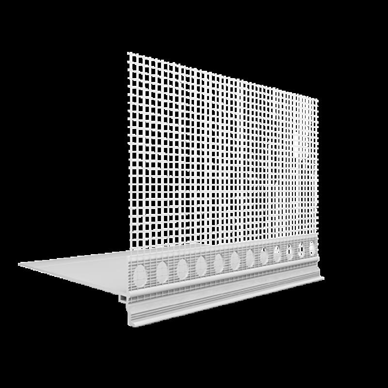 Ejot PVC cokolinis jungiamasis profilis su tinkleliu Praktika 180mm pločio 2,0m
