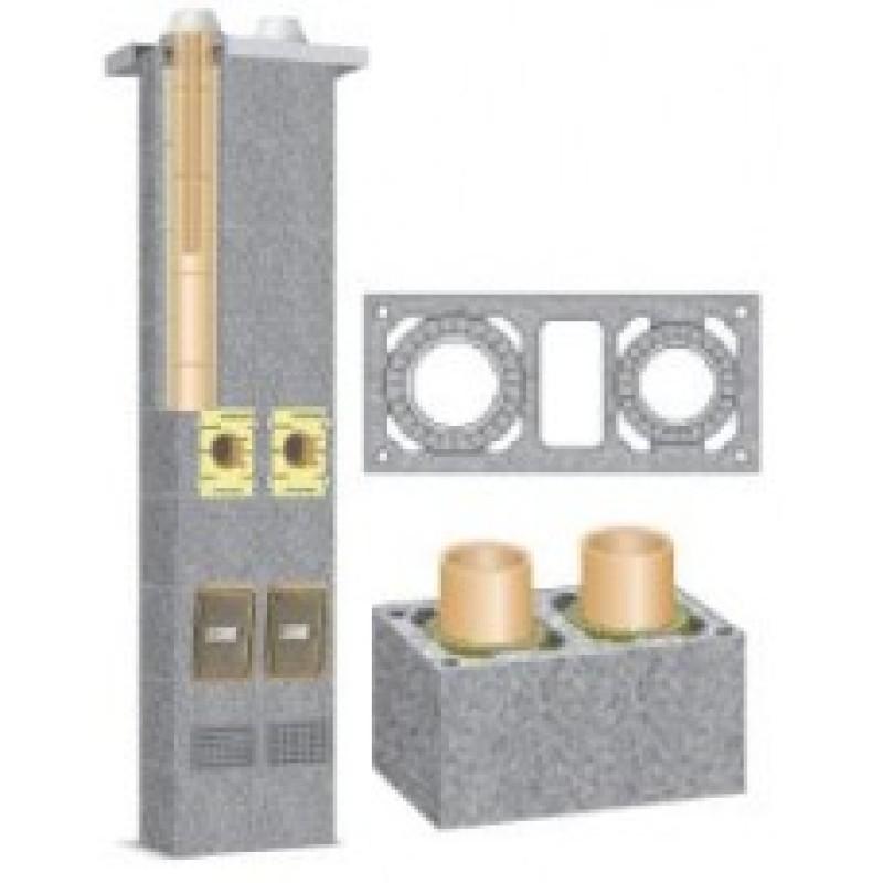 Schiedel Rondo Plus dvigubas kaminas su ventiliacijos kanalu 180+V+160 mm
