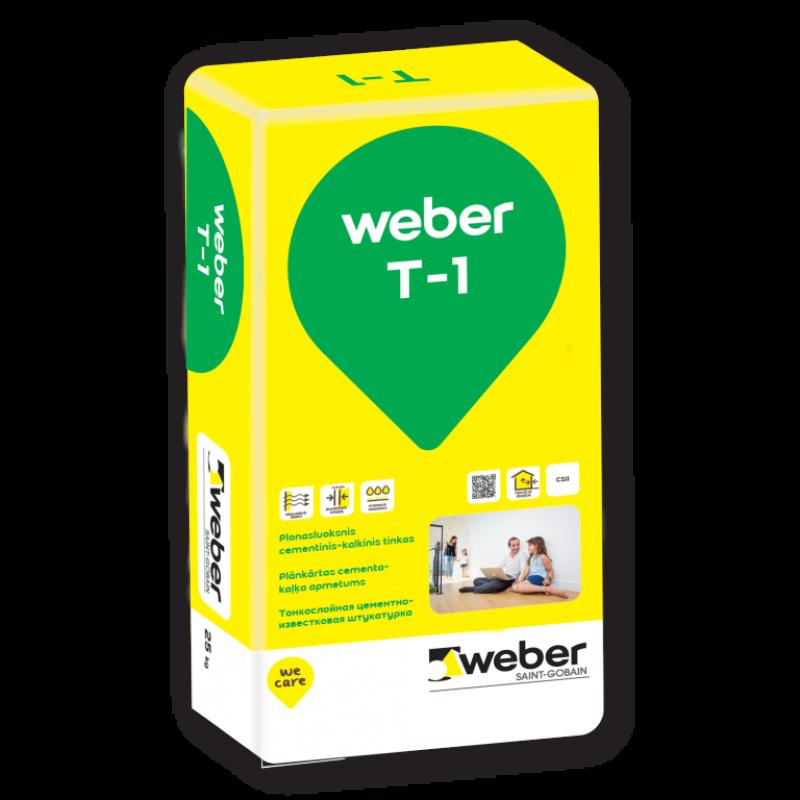 Plonasluoksnis cementinis kalkinis tinkas Weber T-1 25,0kg